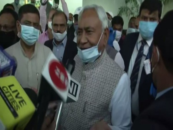 Bihar Chief Minister Nitish Kumar speaks to reporters in Patna on Tuesday. (Photo/ANI)