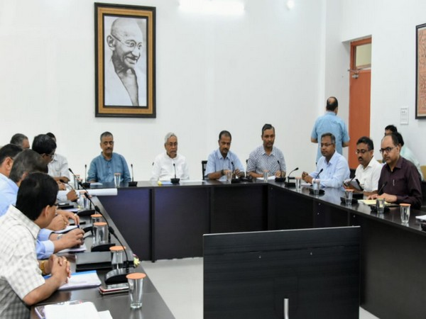 Bihar Chief Minister Nitish Kumar chairing a high-level meeting over flood situation in the state in Patna on Sunday.