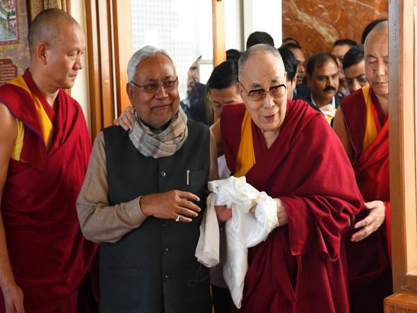 Bihar CM Nitish Kumar (left) with Dalai Lama (right)