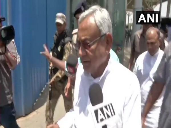 Bihar Chief Minister Nitish Kumar speaking to reporters in New Delhi on Wednesday.