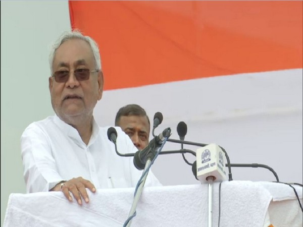 Bihar Chief minister Nitish Kumar speaking on the Independence Day in Patna. Photo/ANI