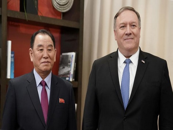 Vice Chairman of the North Korean Workers' Party Committee Kim Yong Chol with the US Secretary of State Mike Pompeo