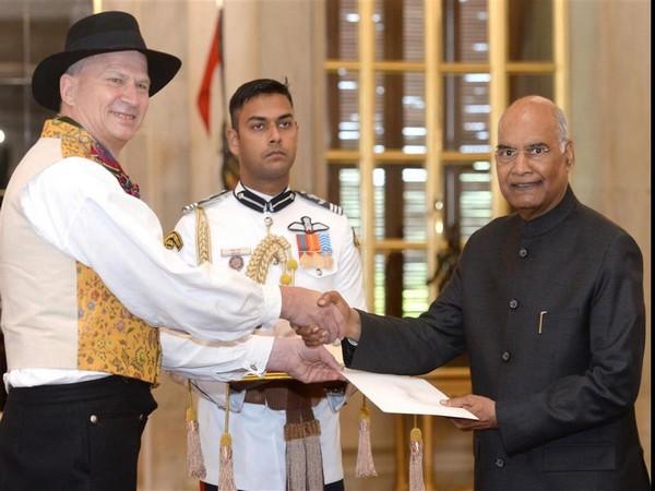 Norwegian Ambassador-Designate Hans Jacob Frydenlund presented his credentials to the President Ram Nath Kovind on Wednesday. Photo/ANI