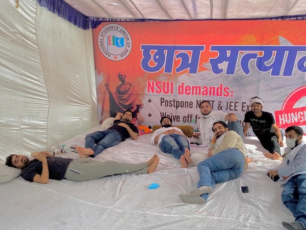 Visuals from Students Satyagraha by NSUI in New Delhi. Photo/ANI