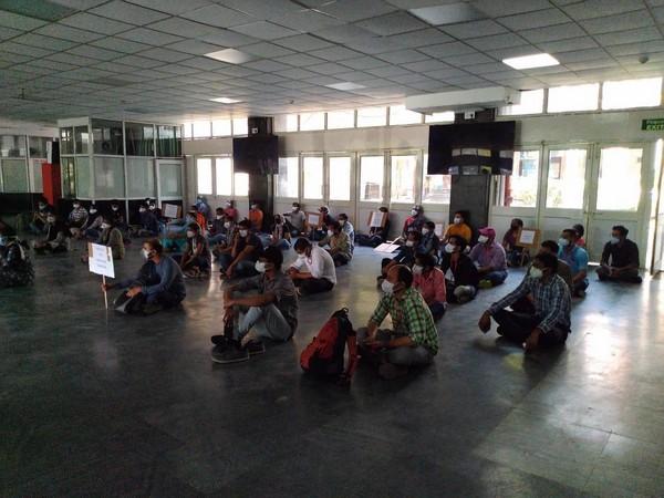 AIIMS nurses' union strike over better facilities at workplace. Photo/ANI