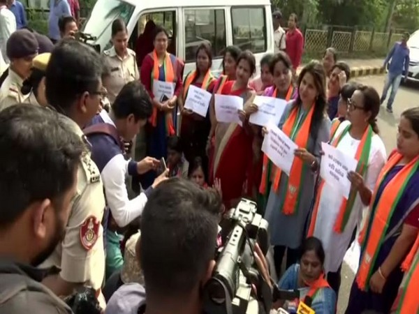 BJP Mahila Morcha stage protest in Bhubaneswar. Photo/ANI