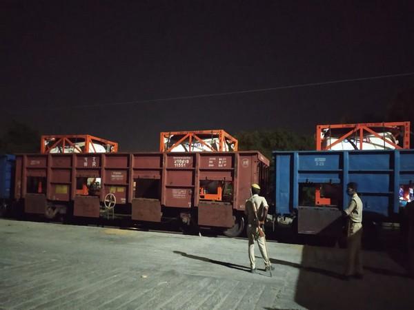 Visual of 'Oxygen Express' at Moradabad. (Photo/ANI)