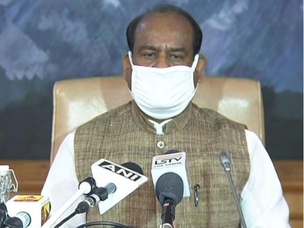 Lok Sabha Speaker Om Birla addressing a press conference in New Delhi on Tuesday. Photo/ANI