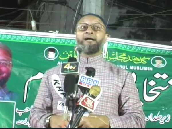 AIMIM chief Asaduddin Owaisi addresses a public meeting in Hyderabad on Tuesday. (Photo/ANI)