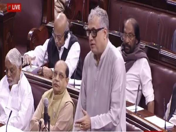 TMC MP Derek O'Brien speaking in Rajya Sabha on Monday. (Photo Credits: Rajya Sabha TV)