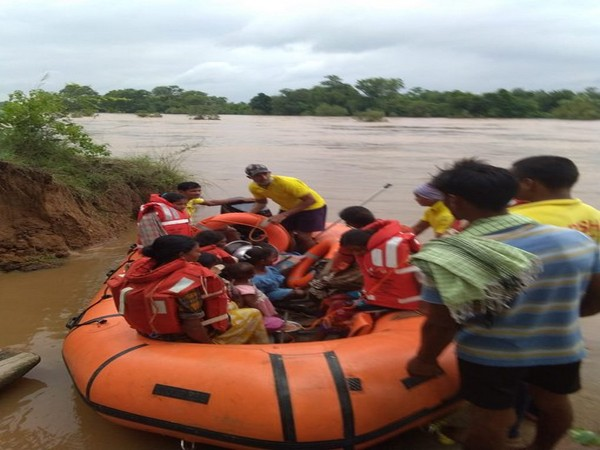 35 people including women and children were evacuated to a safer place from the flood-affected area near Saberi river by teams from Podia and Malkangiri Fire Stations on Monday.