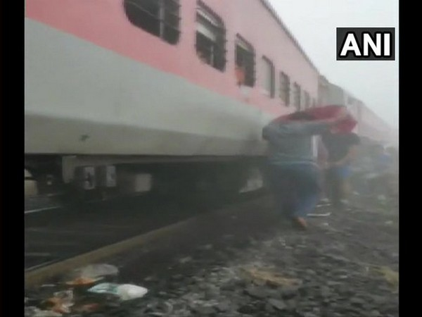 8 coaches derailed after Lokmanya Tilak Express hits a guard van of a goods train [Photo/ANI]
