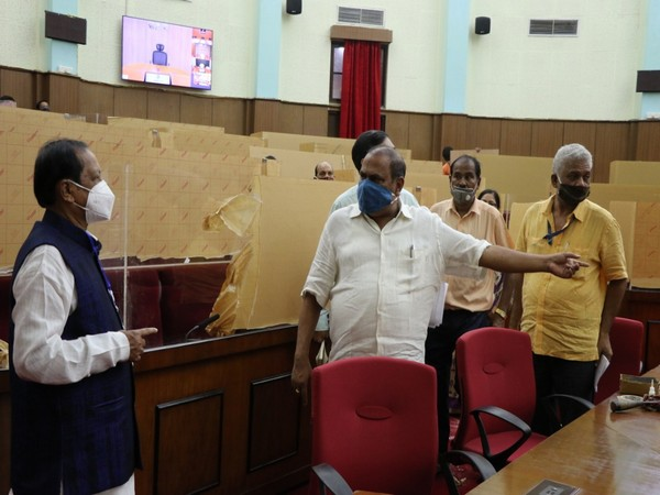 Odisha Assembly Speaker SN Patro inspected the seating arrangements in the Assembly on Monday.