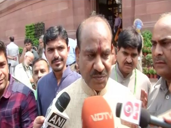 Lok Sabha Speaker Om Birla speaking to reporters on Wednesday in New Delhi. Photo/ANI