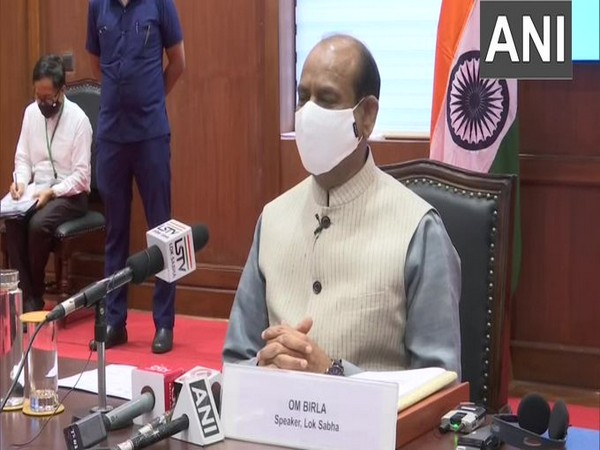 Lok Sabha speaker Om Birla speaking to presiding officers on the COVID situation via video conference on Monday. (Photo/ANI)