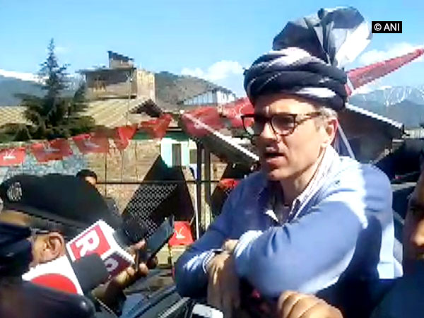 National Conference leader Omar Abdullah talking to reporters in Bandipora on Monday. Photo/ANI