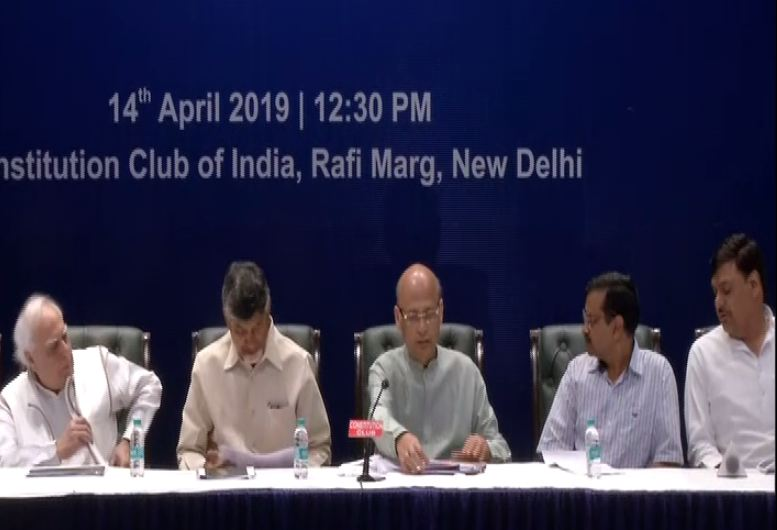 Opposition leaders addressing a joint press briefing in New Delhi on Sunday. (ANI photo)