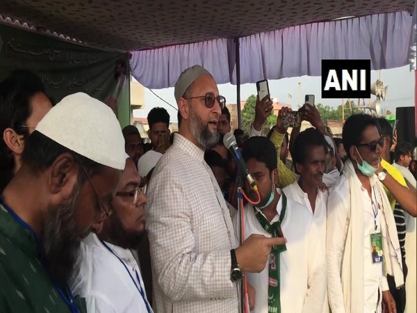 AIMIM chief Asaduddin Owaisi during a public rally in West Bengal. (Photo/ ANI)