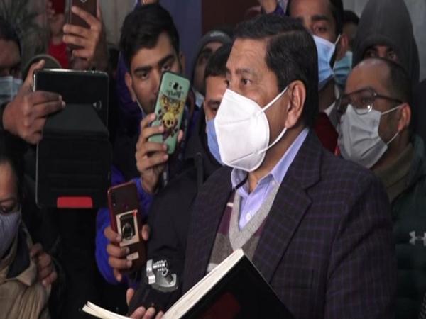 Narayan Kaji Shrestha, spokesperson for the Dahal- Nepal faction, speaking to reporters on Tuesday. Photo/ANI
