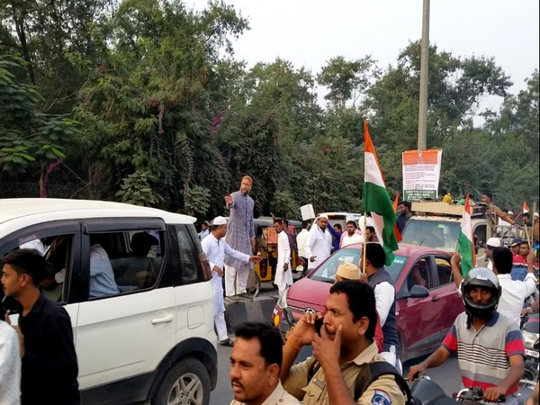 AIMIM had taken out a massive 'Tiranga Yatra' in protest against CAA and NRC in Hyderabad, Telangana on Friday. Photo/ANI