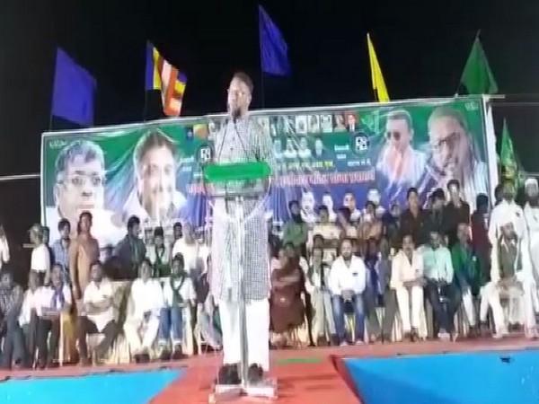 AIMIM leader Asaduddin Owaisi addressing a rally in Aurangabad, Maharashtra on Thursday. Photo/ANI