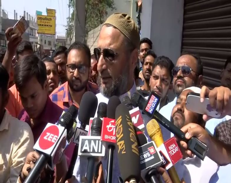 AIMIM chief Asaduddin Owaisi speaking to reporters in Hyderbad on Thursday.