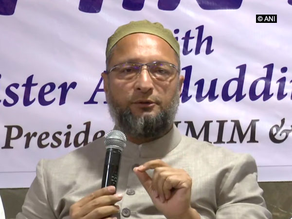 AIMIM chief Asaduddin Owaisi speaking at a press conference in Hyderabad on Tuesday. Photo/ANI