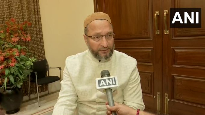 AIMIM chief Asaduddin Owaisi talking to ANI