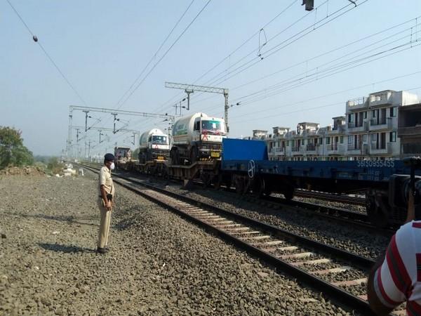 Oxygen Express reached Bhopal. (Photo/ ANI)