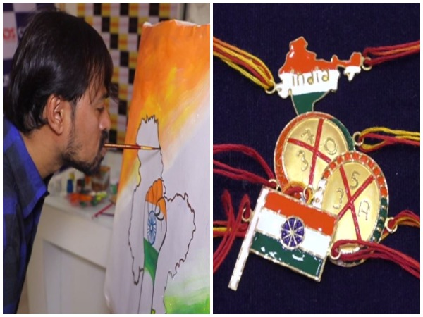 A renowned mouth and foot painter Manoj Bhingare and uniques rakhis with patriotic theme sold in Surat jewellery shops. (Photo/ANI)