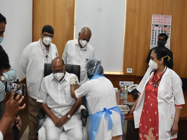Nationalist Congress Party Chief, Sharad Pawar gets COVID-19 vaccination (Photo/ANI)