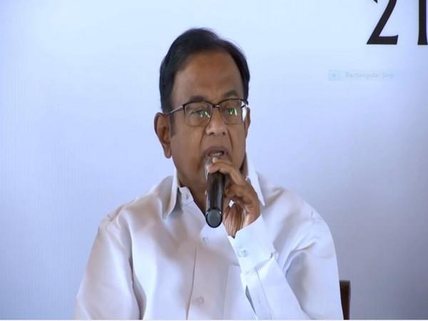 Senior Congress leader P Chidambaram speaking at ORF event in New Delhi on Sunday. Photo/ANI