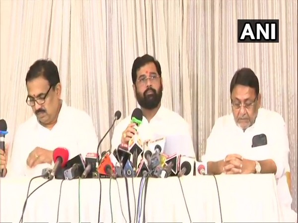 Maha Vikas Aghadi leaders at a press conference in Mumbai on Thursday to announce their Common Minimum Programme. Photo/ANI