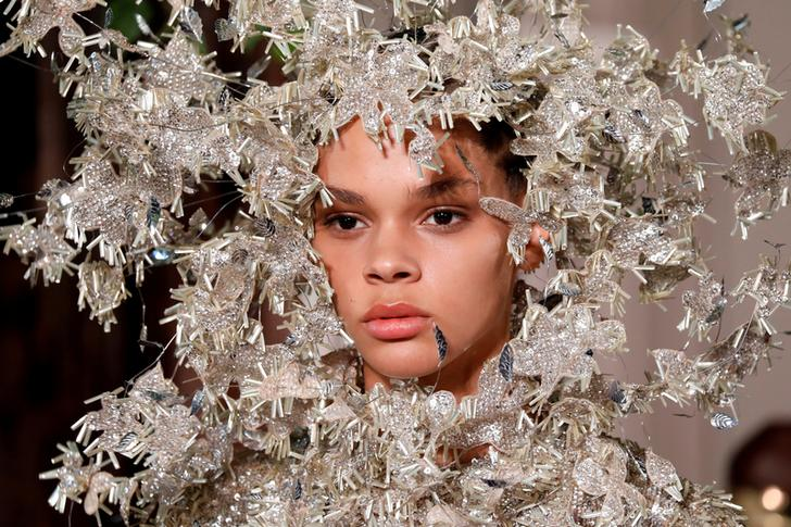 A model presenting designer Pierpaolo Piccioli Haute Couture Fall/Winter 2019/20 show