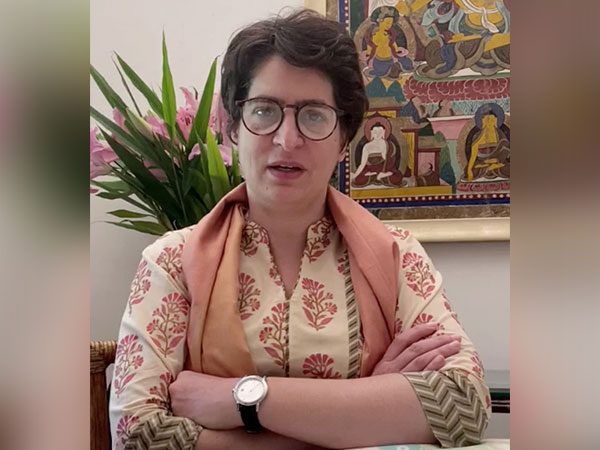 Congress general secretary Priyanka Gandhi Vadra speaking to reporters in Amethi on Tuesday (Photo/ANI)