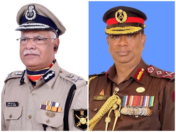 BSF chief Rajni Kant Mishra (L); BGB Md Shafeenul Islam (R)
