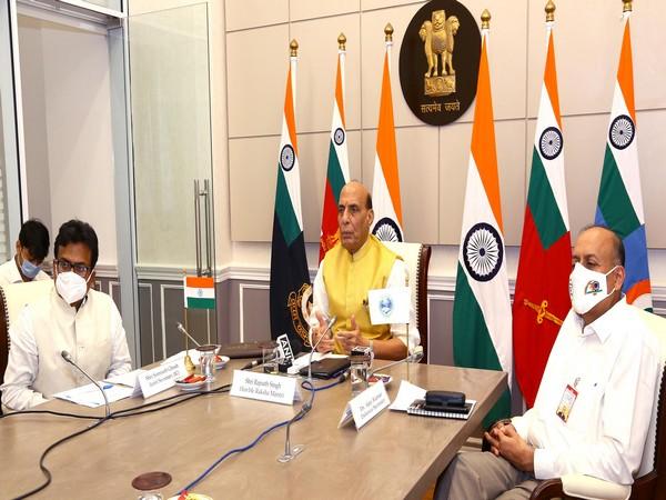 Defence Minister Rajnath Singh at Shanghai Cooperation Organisation (SCO) webinar.