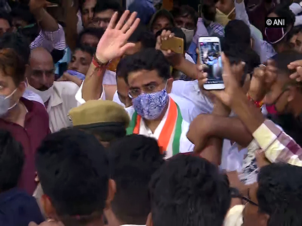 Sachin Pilot being greeted by supporters in Jaipur, Rajasthan on Tuesday. Photo/ANI