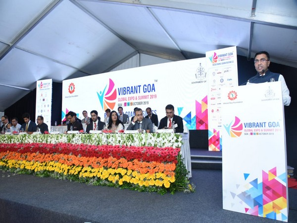 Chief Minister Pramod Sawant delivering speech at the inauguration of VG-GES 2019. Photo/ANI