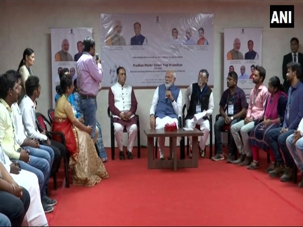 Prime Minister Narendra Modi during an interaction with beneficiaries of PM-SYM scheme in Ahmadabad.