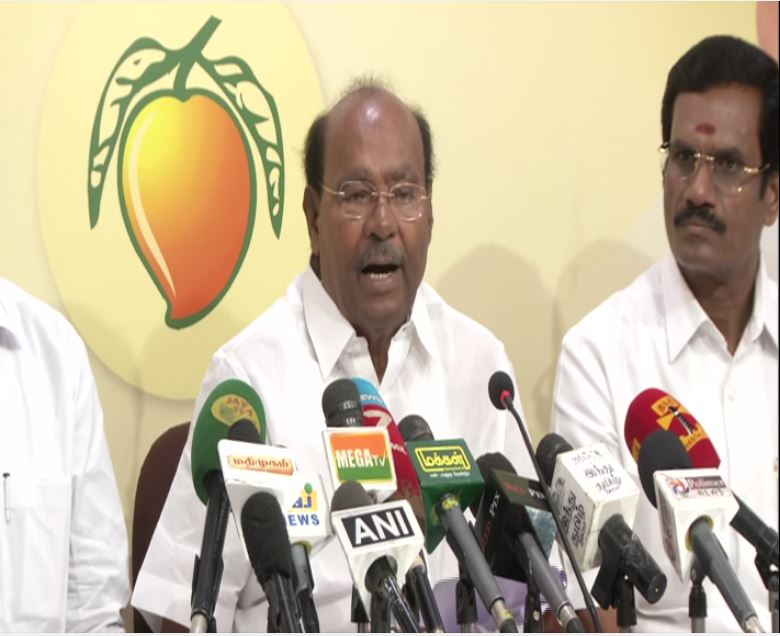 Pattali Makkal Katchi leader S Ramadoss addressing a press conference in party office at Chennai, Tamil Nadu, on Tuesday. Photo/ANI