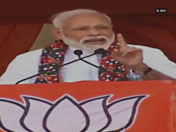 Prime Minister Narendra Modi speaking at an election rally in Mahbubnagar, Telangana on Friday. Photo/ANI