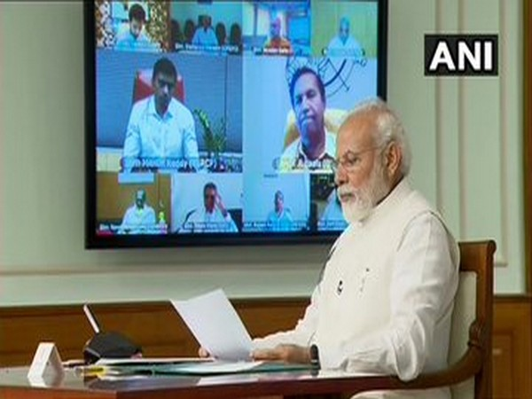 Prime Minister Narendra Modi during the meeting held via video conferencing on Wednesday. Photo/ANI