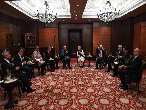 Prime Minister Narendra Modi meets world leaders during the Raisina Dialogue 2020  (Picture Credits: Narendra Modi/Twitter)