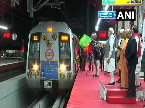 Prime Minister Narendra Modi while inaugurating Red line extension of Delhi Metro on Friday. Photo/ANI