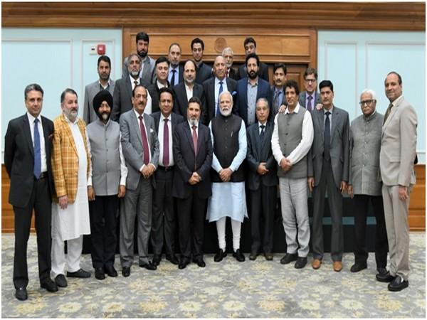 PM Narendra Modi with the Apni Party delegation on Saturday. Photo/PIB