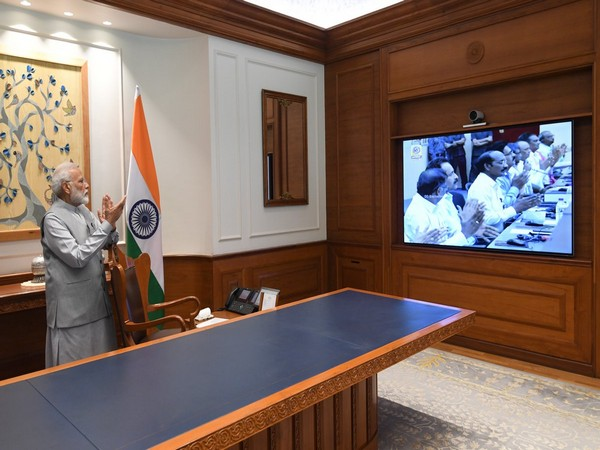 Prime Minister Narendra Modi watches launch of Chandrayaan-2 (Source Twitter)
