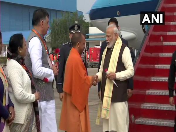 Prime Minister Narendra Modi arrives in Kanpur (Photo/ANI)