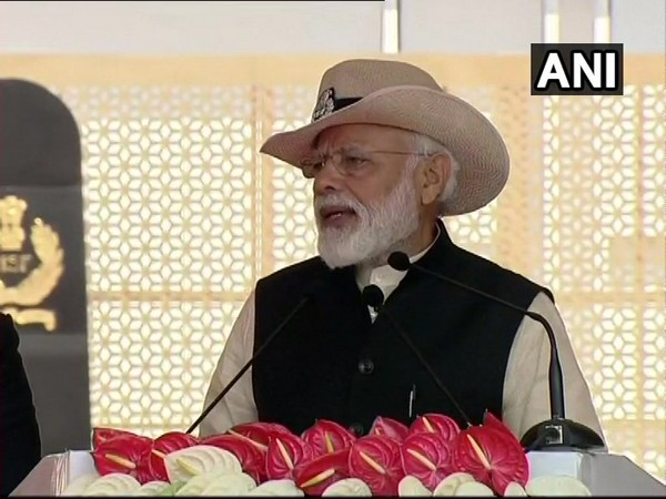 Prime Minister Narendra Modi speaking at a CISF function in Ghaziabad, Uttar Pradesh, on Sunday. Photo/ANI