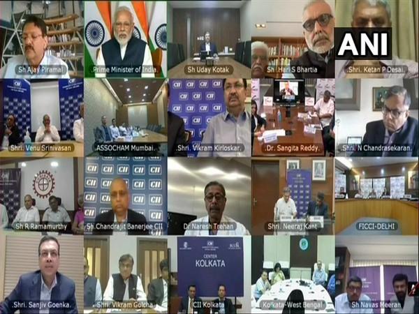 Prime Minister Narendra Modi interacts with industry representatives via video conference